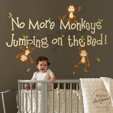 بدون میمون های بیشتر پرش روی تخت -- dd1028 وینیل دشنه دیوار عکس برگردان کودکان و نوجوانان کودکان پرستاری