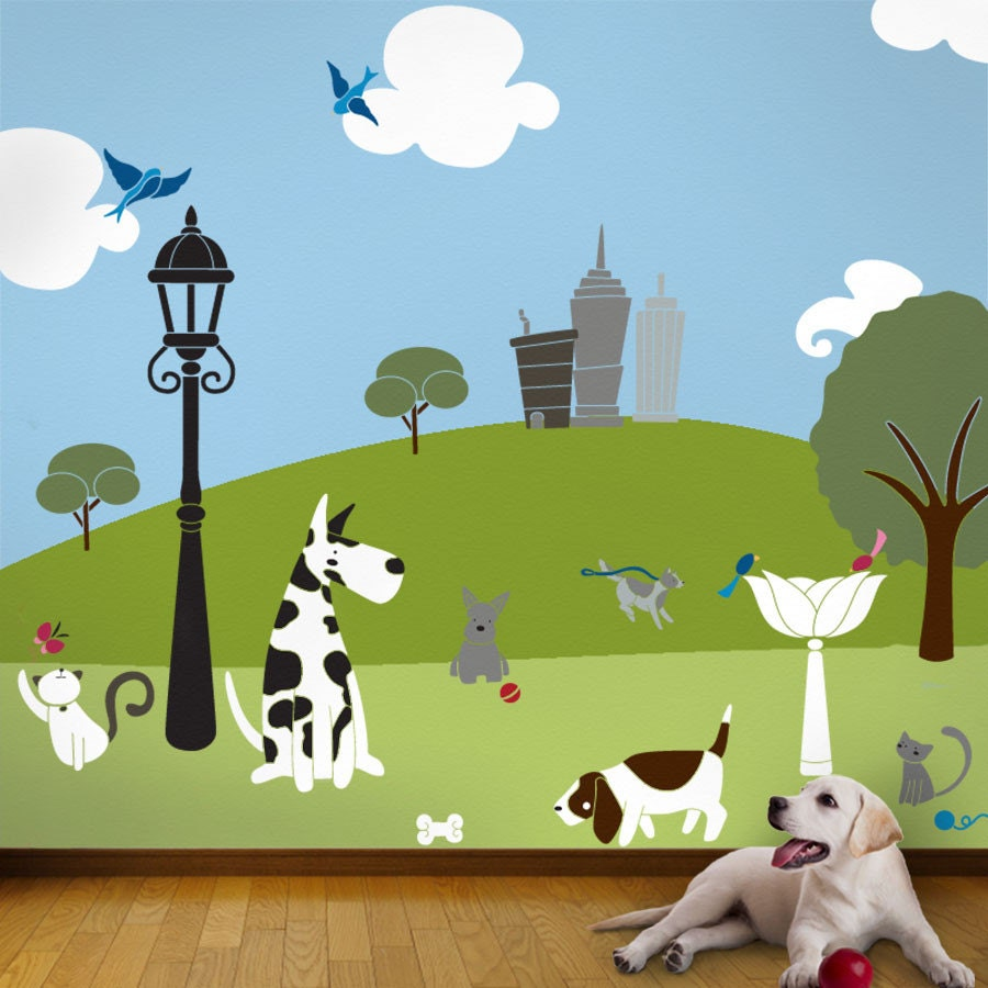 Cat And Dog Wall Mural Stencil Kit For Kids Or By