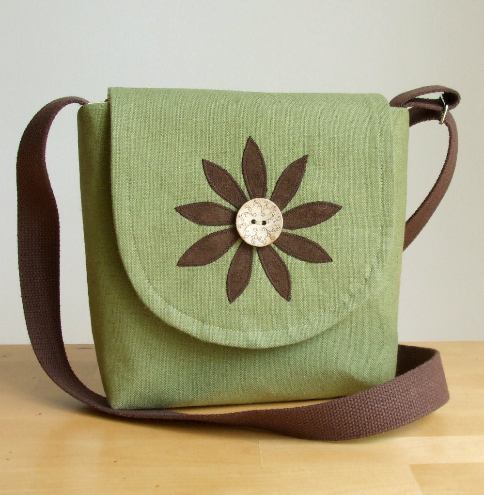 A Cross Body Satchel with a Handmade Flower Applique