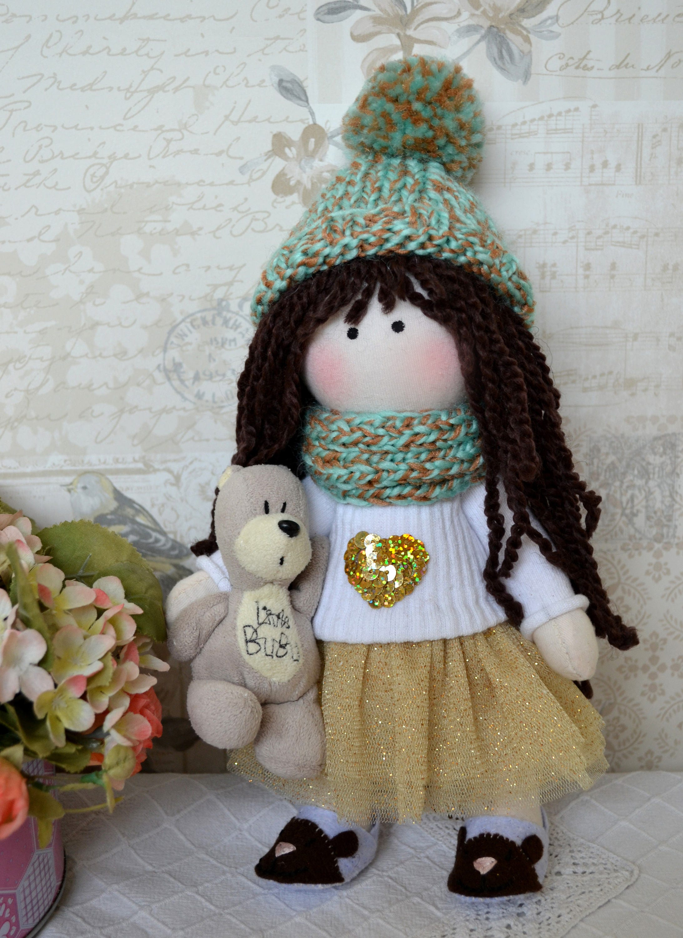 Chloe Handmade collectable Lindy doll toy Russian dolls hand stitched personalise cloth craft