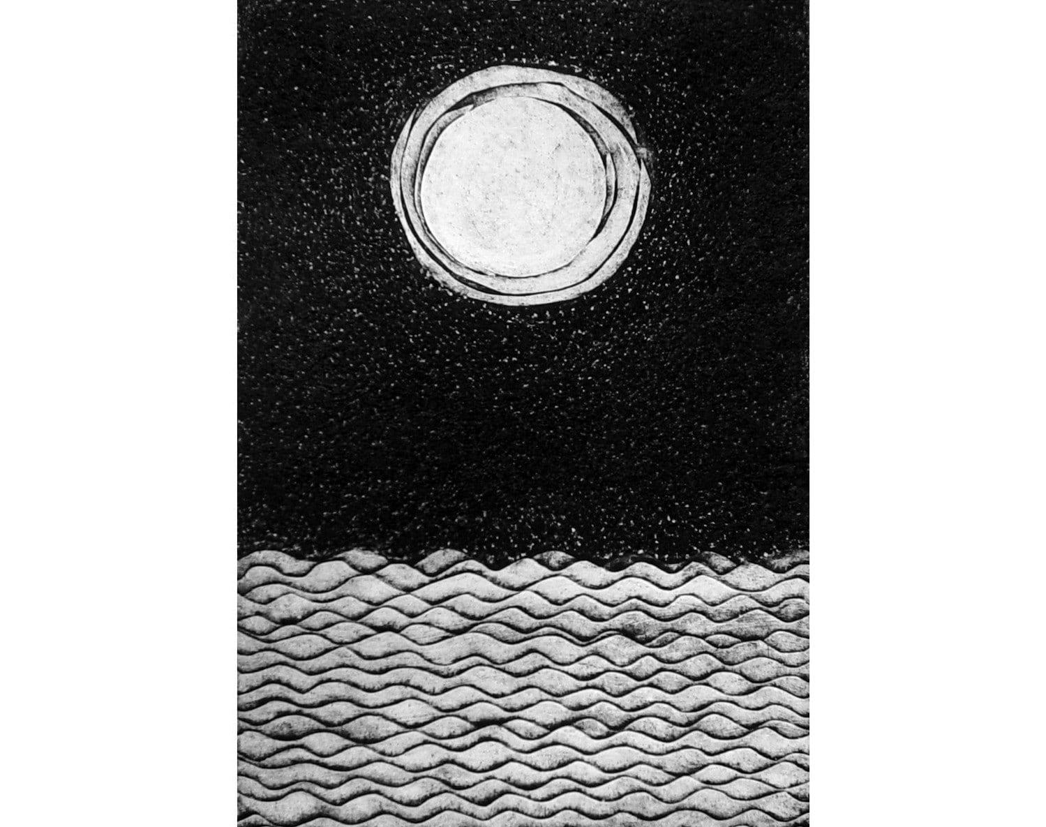 Moon and Sea (original collograph) wall art