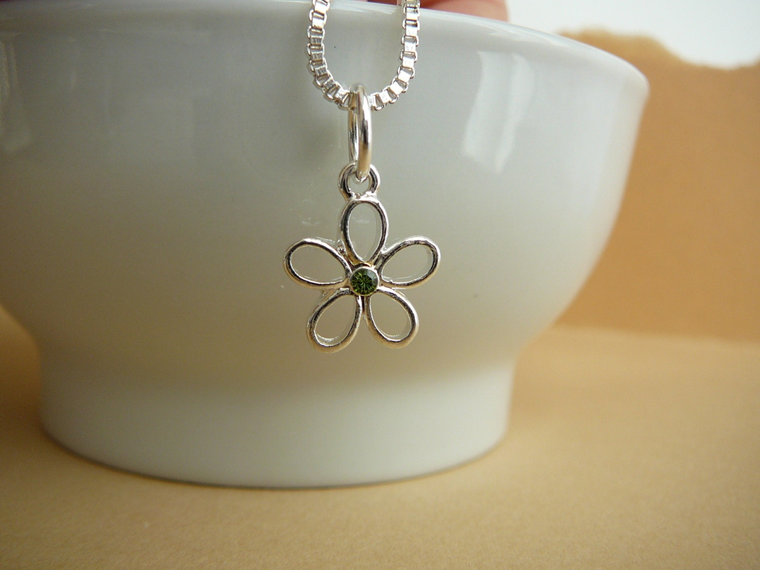 Silver flower charm with peridot crystal, suspended to a silver box chain - everyday wear jewelry - Free shipping to Canada & USA - CreationsChantal