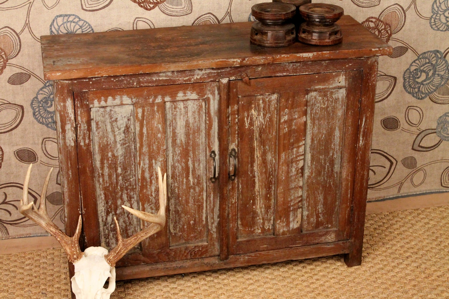 Antique Rustic Distressed Cabinet - hammerandhandimports