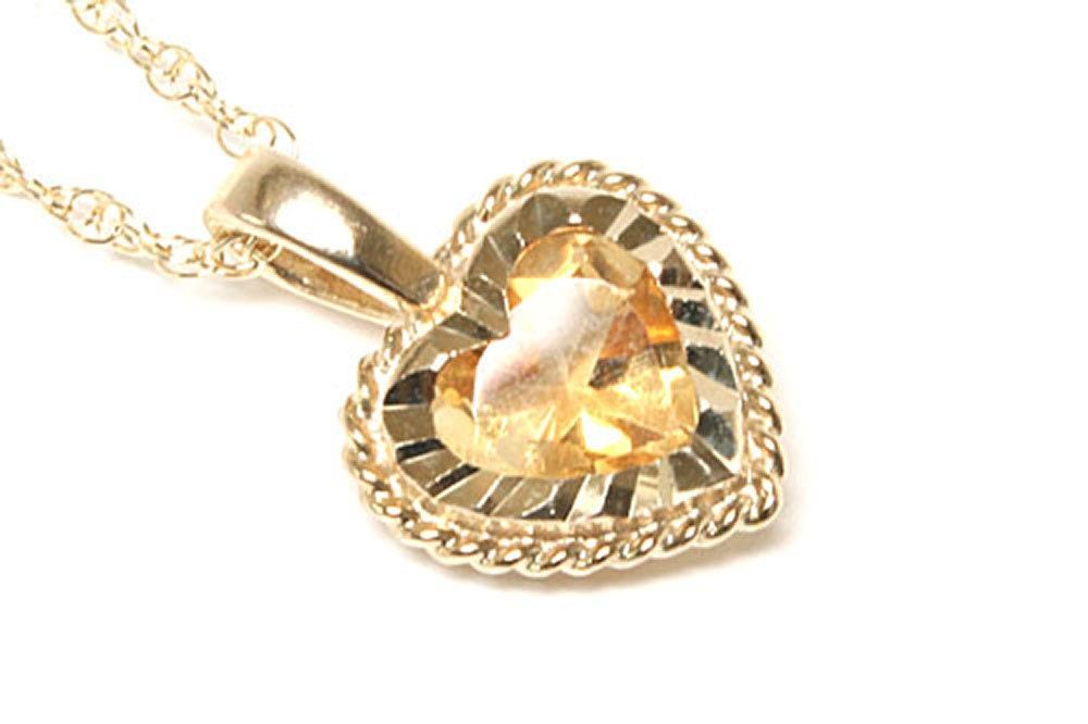 Solid 9ct Gold Citrine Diamond Cut Love Heart Pendant and chain P536