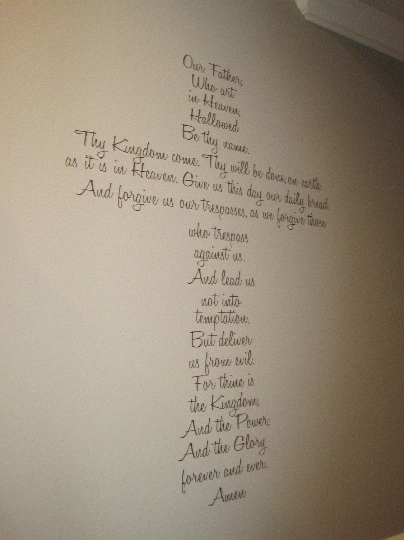 Lord S Prayer Large Vinyl Cross Wall Decor By