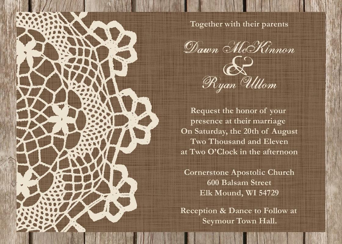 Vintage Rustic Wedding Invitations