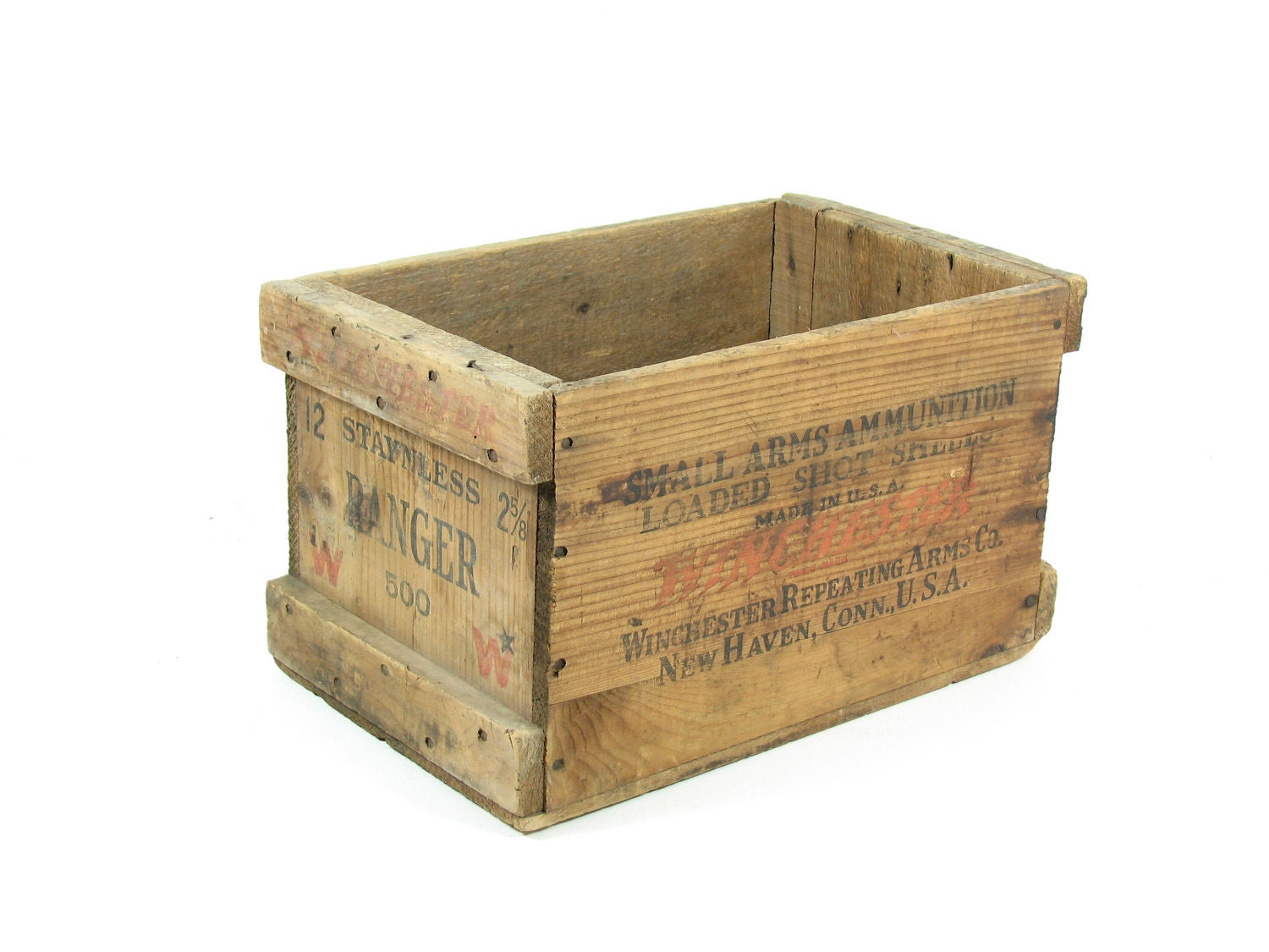Vintage winchester ammo crate wood ammo box by bridgewoodplace for Old wooden crates