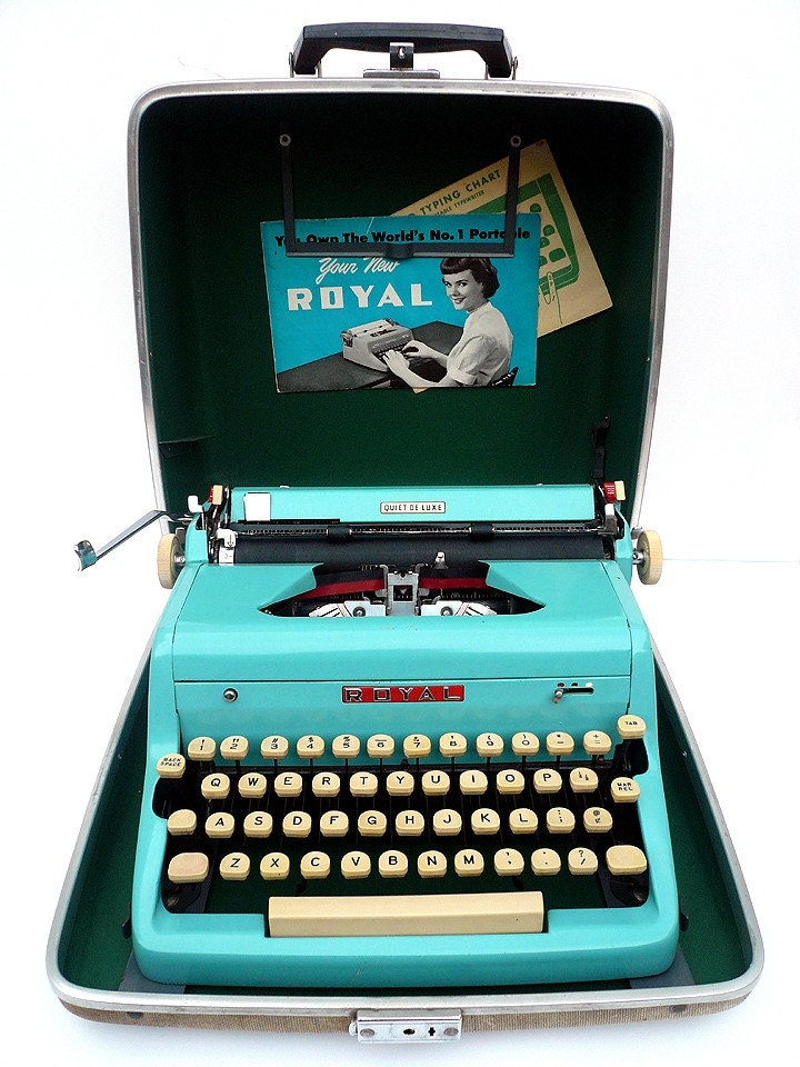 1950s Blue RESTORED Royal Portable Manual Typewriter w/ Case