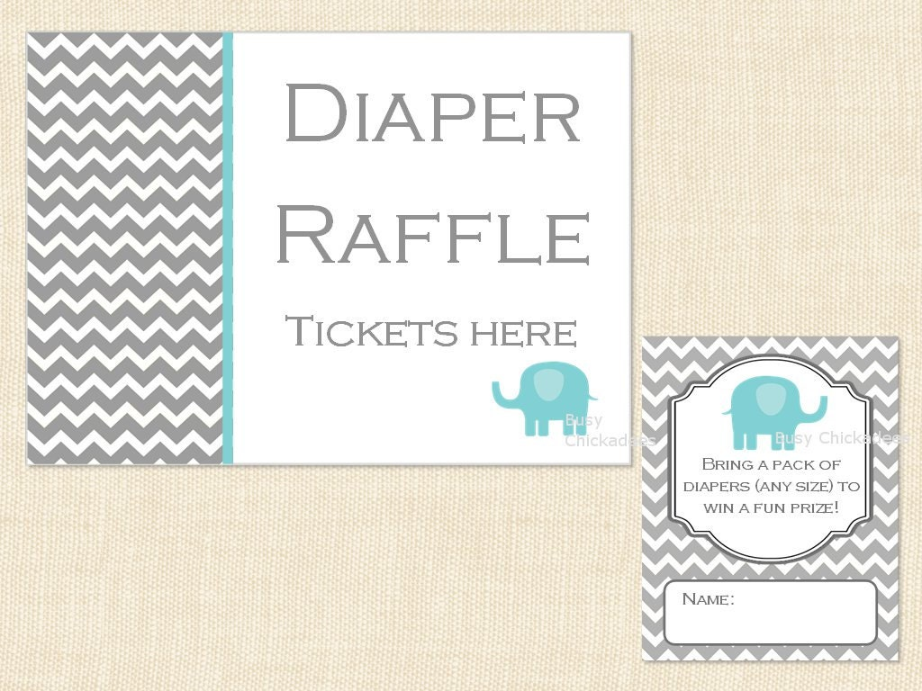 diaper raffle ticket baby shower sign and invitation inserts blue