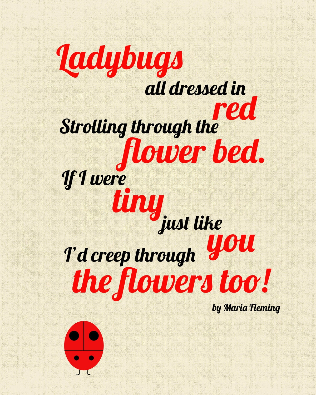 8x10 Ladybug Poem Print By Cjmsquared On Etsy