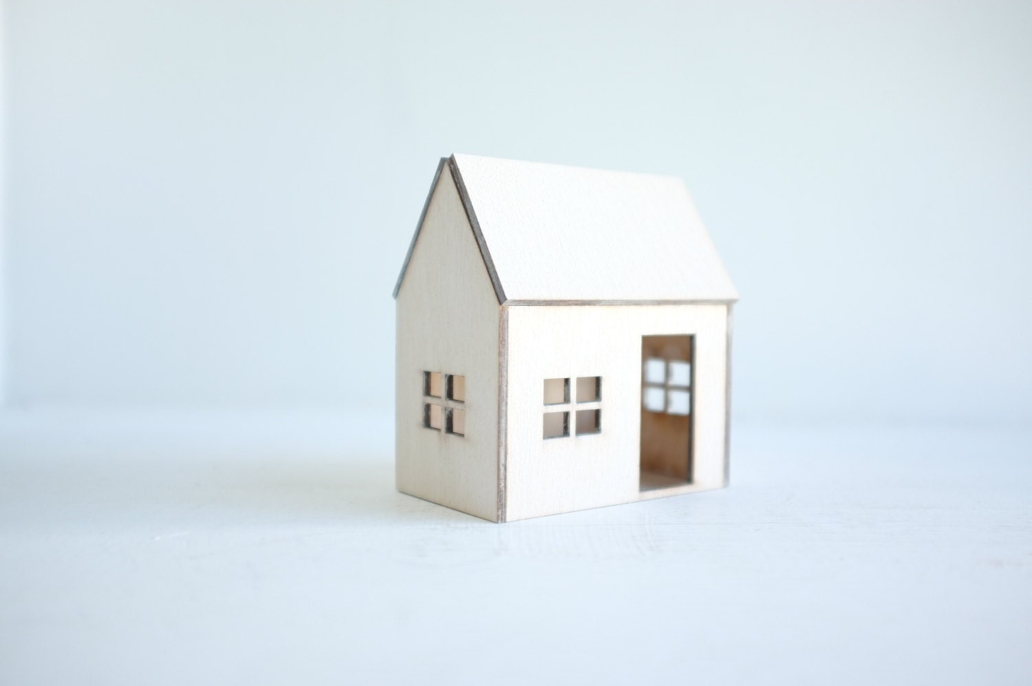 Whitewashed miniature house - small winter white architecture - little wooden geometric structure in ivory - 2of2
