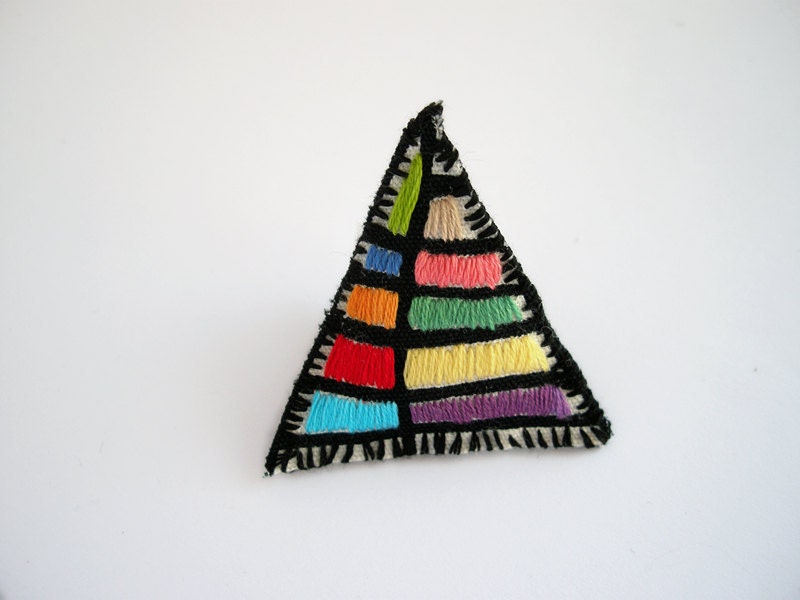 Triangle geometric colorful embroidered brooch - FishesMakeWishes
