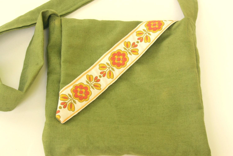 Eco Friendly Handmade Bag Linen Fabric Olive Green Retro Floral Trim