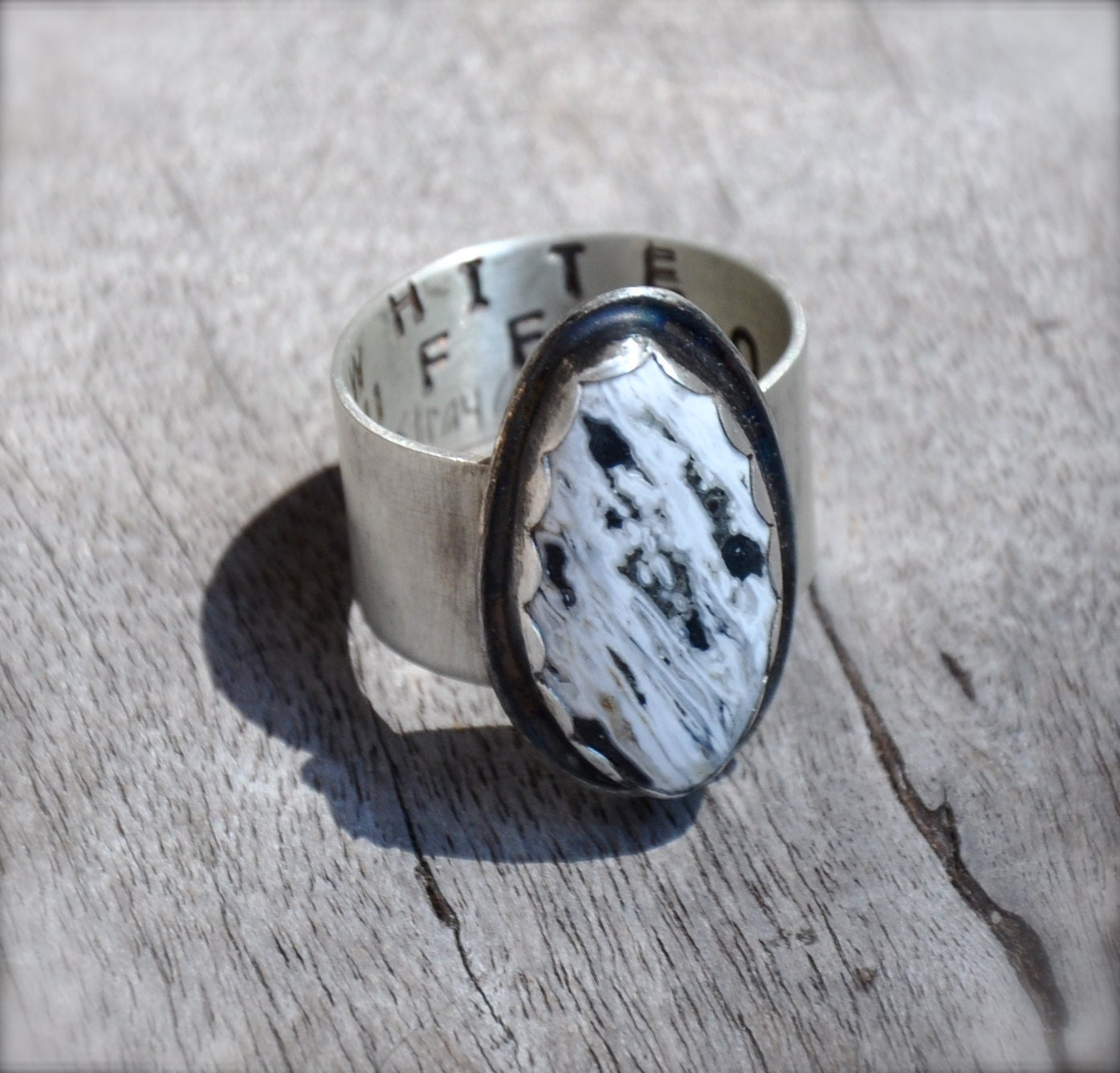 white buffalo turquoise silver ring by thestrayarrow on etsy