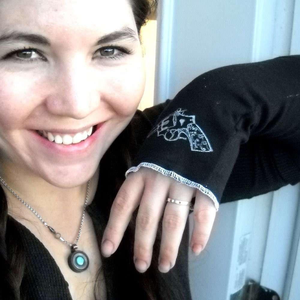 Revolver ladies arm warmers or fingerless gloves in black or custom colors