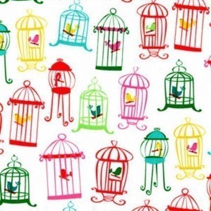 Micheal Miller TWEET TWEET bird cages in white 1 yd