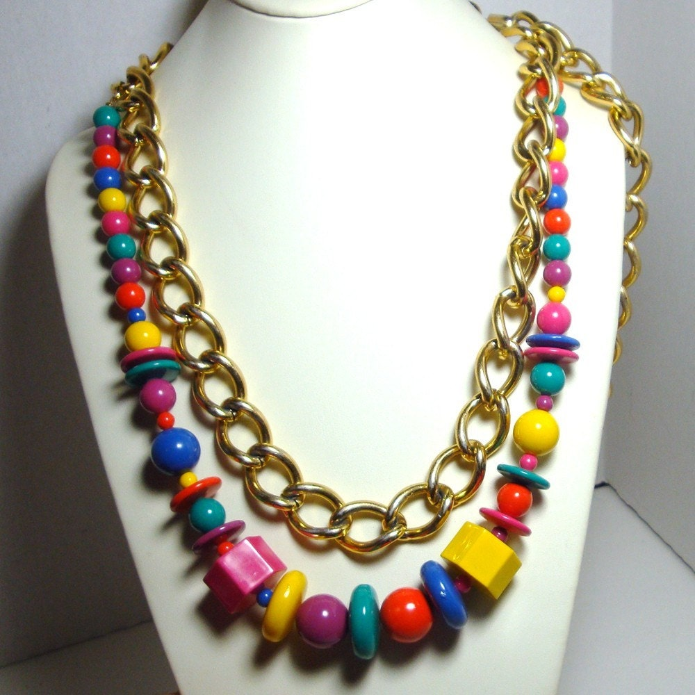 Vintage Necklace Big Gold Chain, Rainbow Colored, Crayola Bright Plastics, ALtered, Upcycled,  Mod Fun OOAK by Rachelle Starr for Vintagestarrbeads with Vintage Components