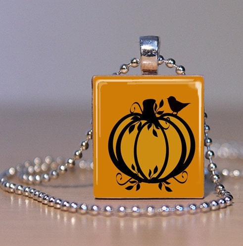 Pumpkin Scrabble Tile Pendant
