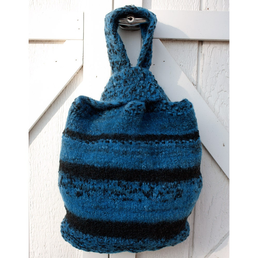 Felted Wool Bag in Blue and Black - HuzzahHandmade