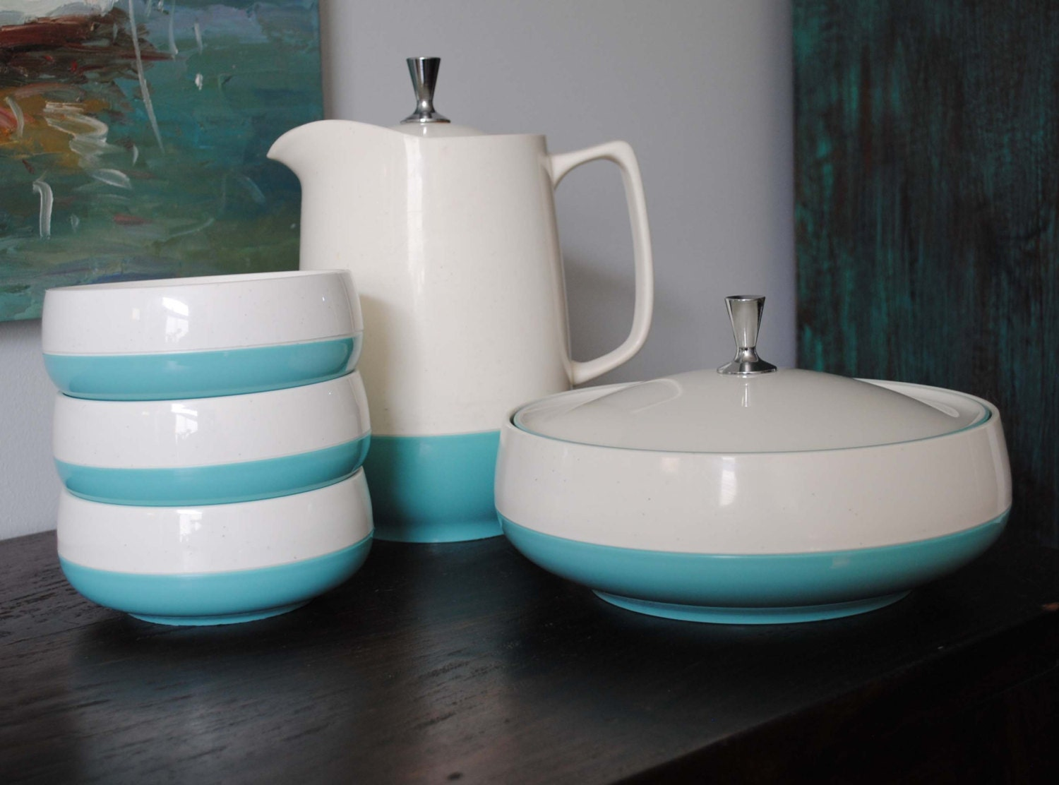 1950s Retro AQUA Vacron Bopp Decker Insulated Serving Set Bowls Pitcher Serving Bowl - BridgetsCollection