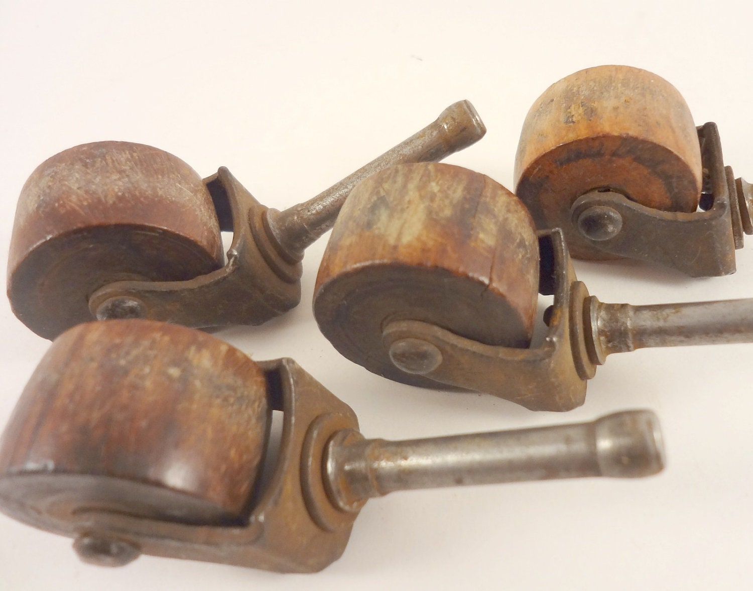 Four Vintage Wood And Metal Furniture Casters By Rockintherust