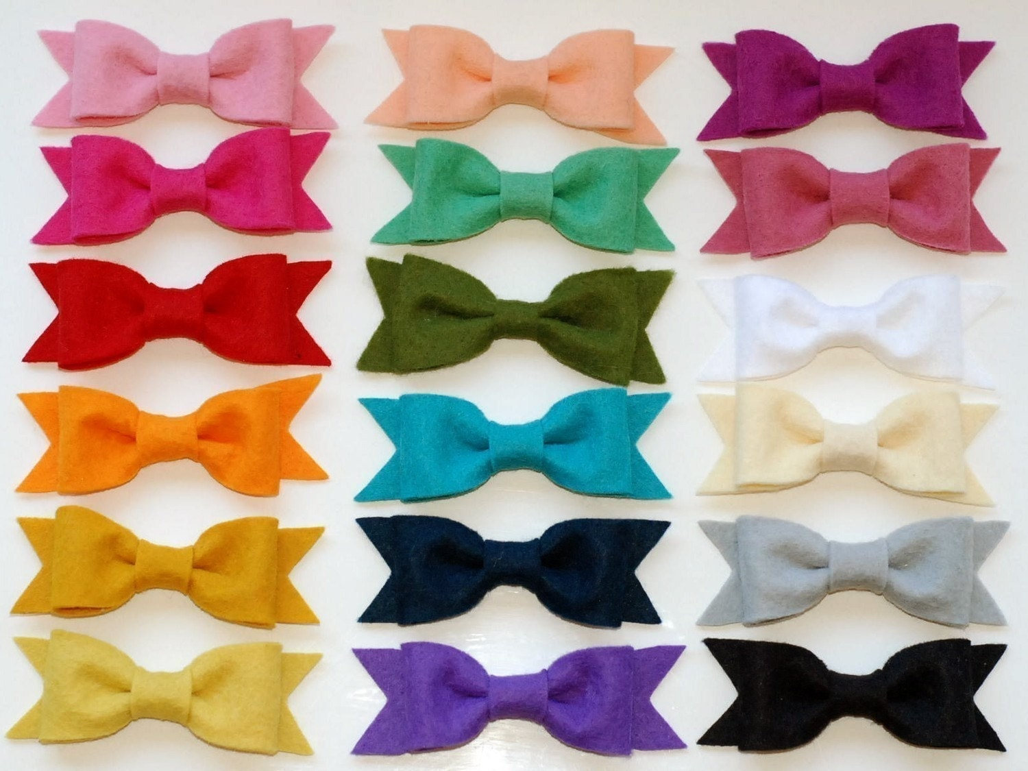 samantha felt bow set on alligator clips CHOOSE 2 IN THE COLOR(s) OF YOUR CHOICE