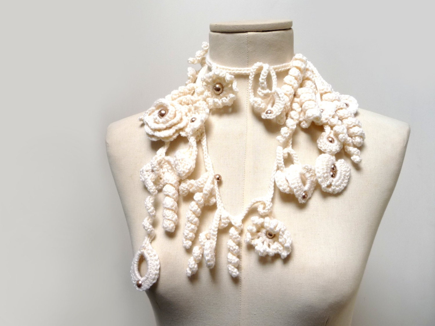 Crochet Lariat Necklace - Freeform Scarflette - Cream White Flowers and Leaves with Light Brown Glass Pearls - ZOE - ixela