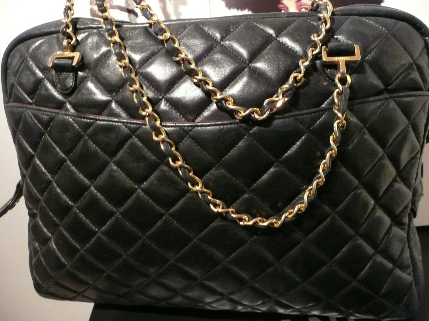 CHANEL BAG JuMBO ViNTAGE CoCO SHoPPER HaNDBAG CLaSSIC DoUBLE GoLD CHaIN STRaP ToTE MaTELASSE QUiLTED LuGGAGE TRaVEL SaC LeATHER 2 PoCKETS