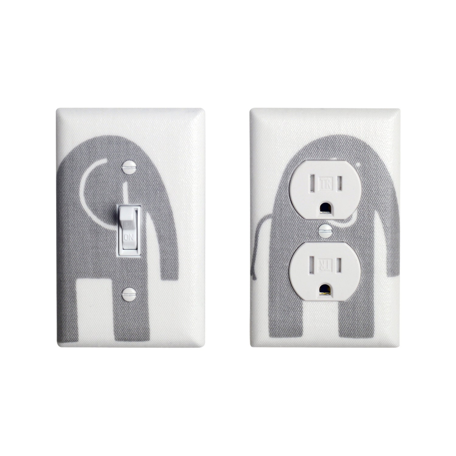 Gray Elephant Light Switch Plate Outlet Cover Set By