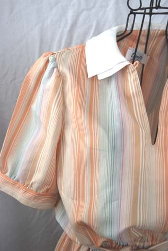 vintage Peter Pan Collar Pastel Stripe Dress Sz S M