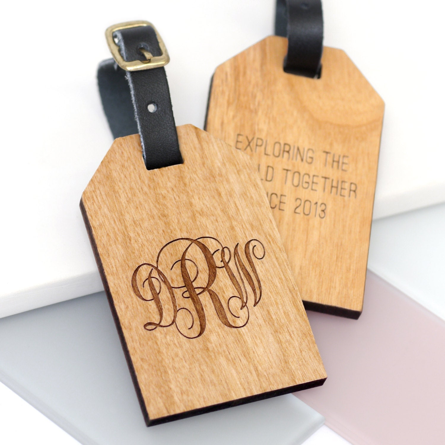 Custom Monogram Luggage Tag Personalized Wooden Tag Travel Gift Custom Travel Accessories Personalised Monogram Luggage Tag