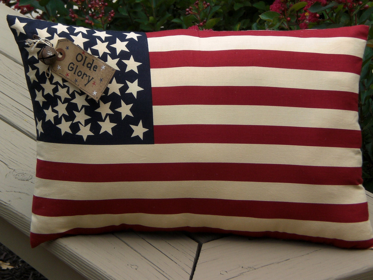 Primitive - American - USA - 16 x 9  Flag - Pillow - Shelf Sitter - Americana - Proud - Olde Glory - Patriotic - 4th of July - Accent Pillow