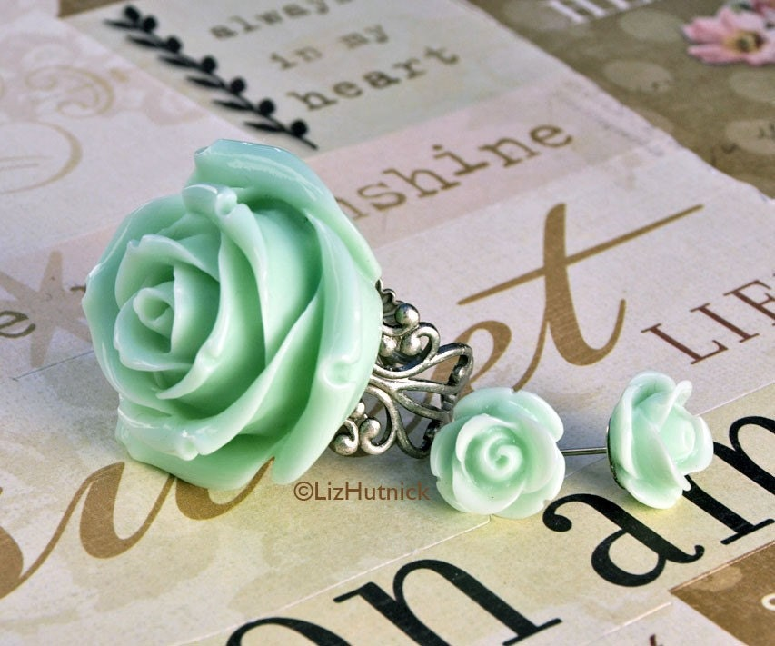 Mint Dream Earrings and Ring Set - FREE shipping