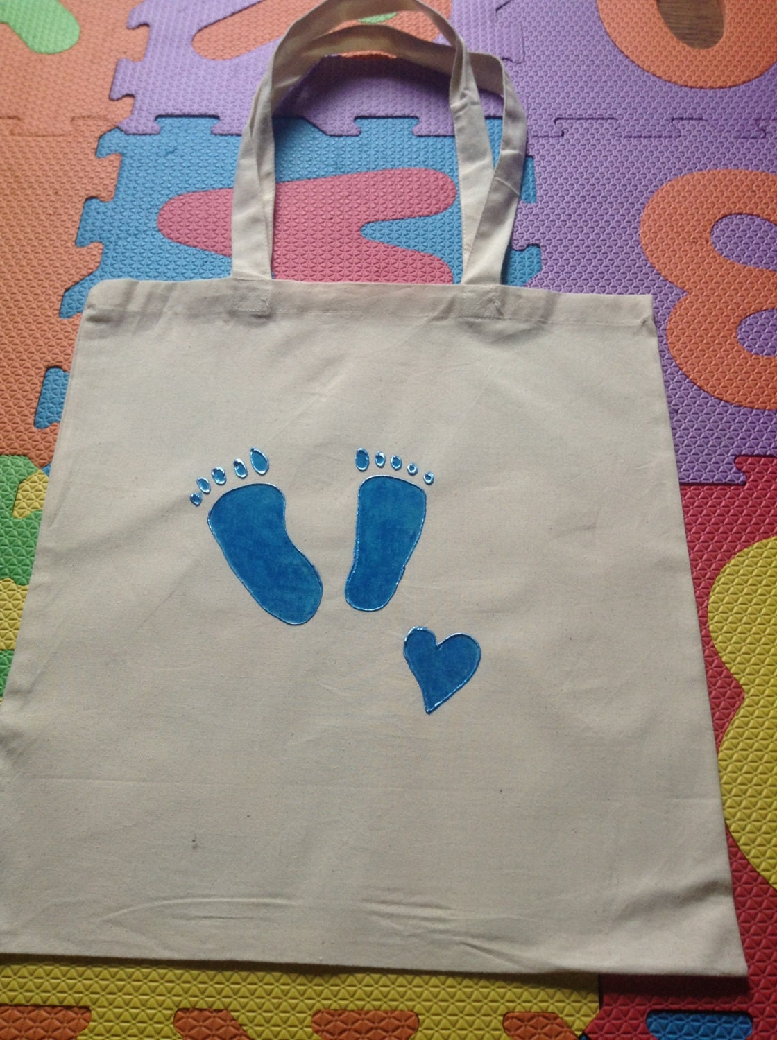 HandPainted Natural Cotton Tote Bag Blue Baby Feet New Baby Gift  Baby Shower