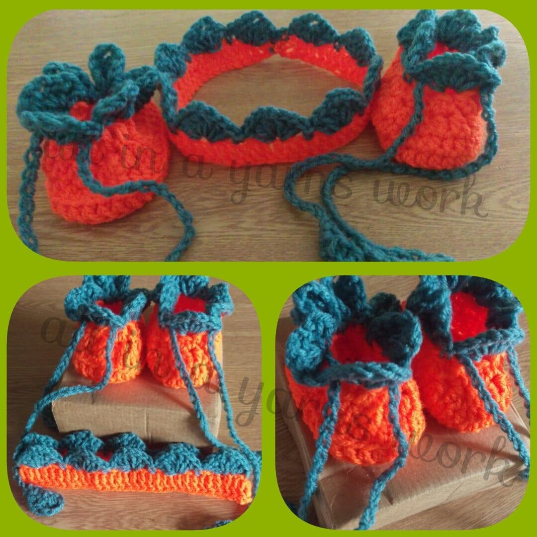 Halloween pumpkin baby booties and headband set