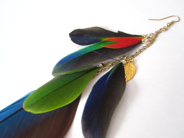 PARROT- long single feather earring