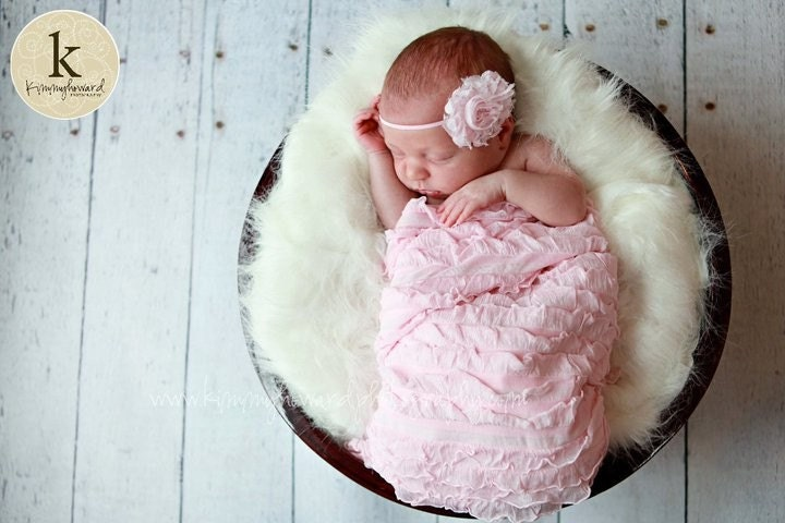 Pink Shabby Chic Ruffle Wrap and Rosette Headband - Great Photo Prop-