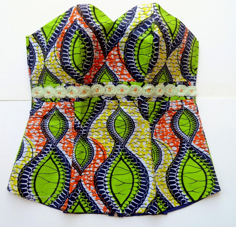 African print bustier top