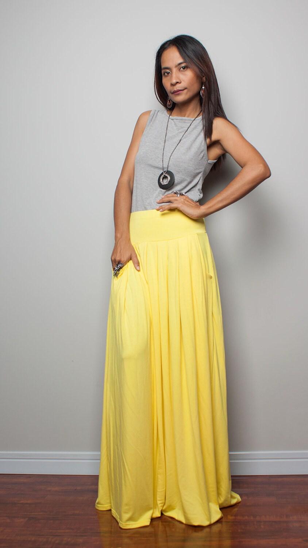 maxi skirt yellow skirt autumn thrills by nuichan