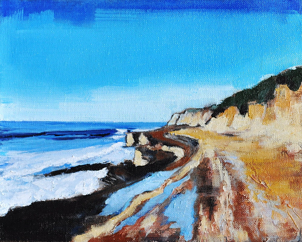 San Diego California Landscape Painting Tide Pool at Cabrillo Point Loma by Kevin Inman Art