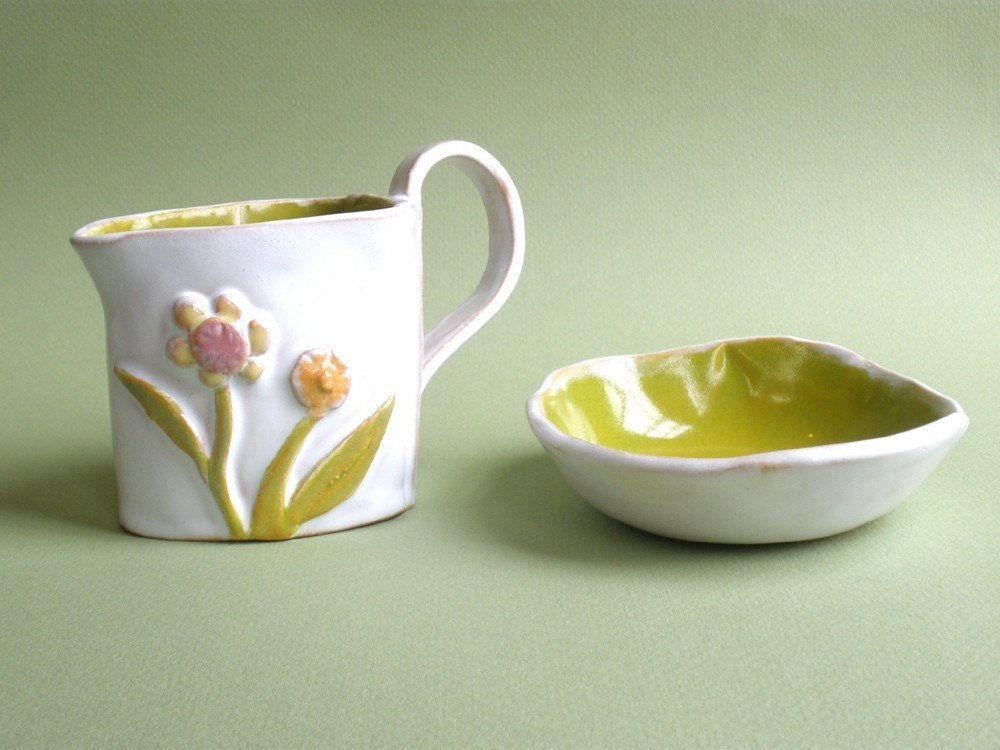 Cream/Sugar Set with Flowers