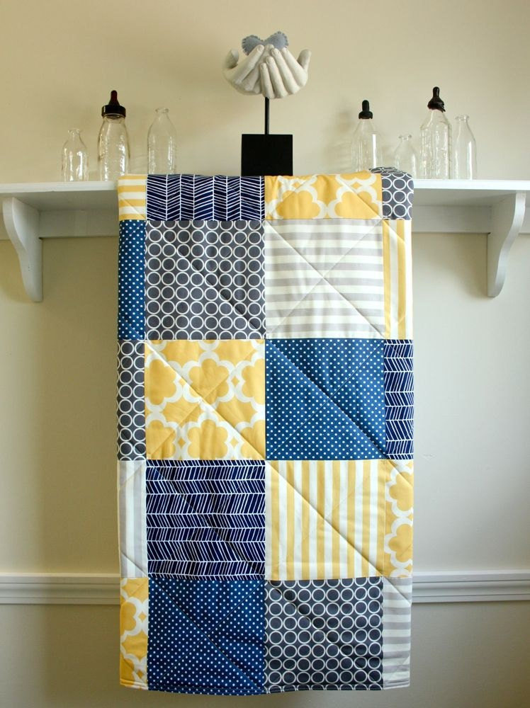 navy and yellow quilt baby whale quilt in navy yellow gray and white by unavailable. Black Bedroom Furniture Sets. Home Design Ideas