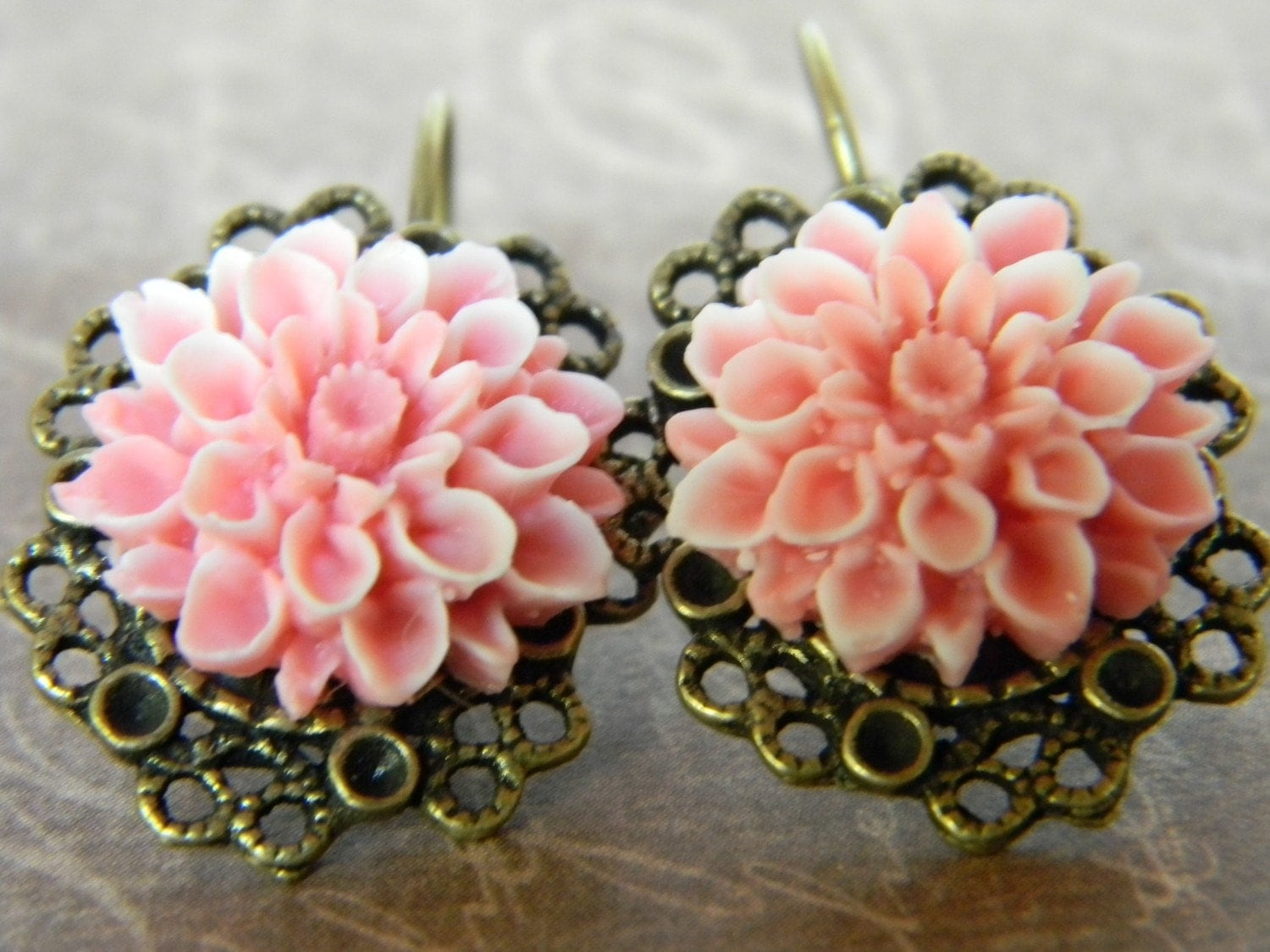 Blushing Pink Victorian Inspired Earrings