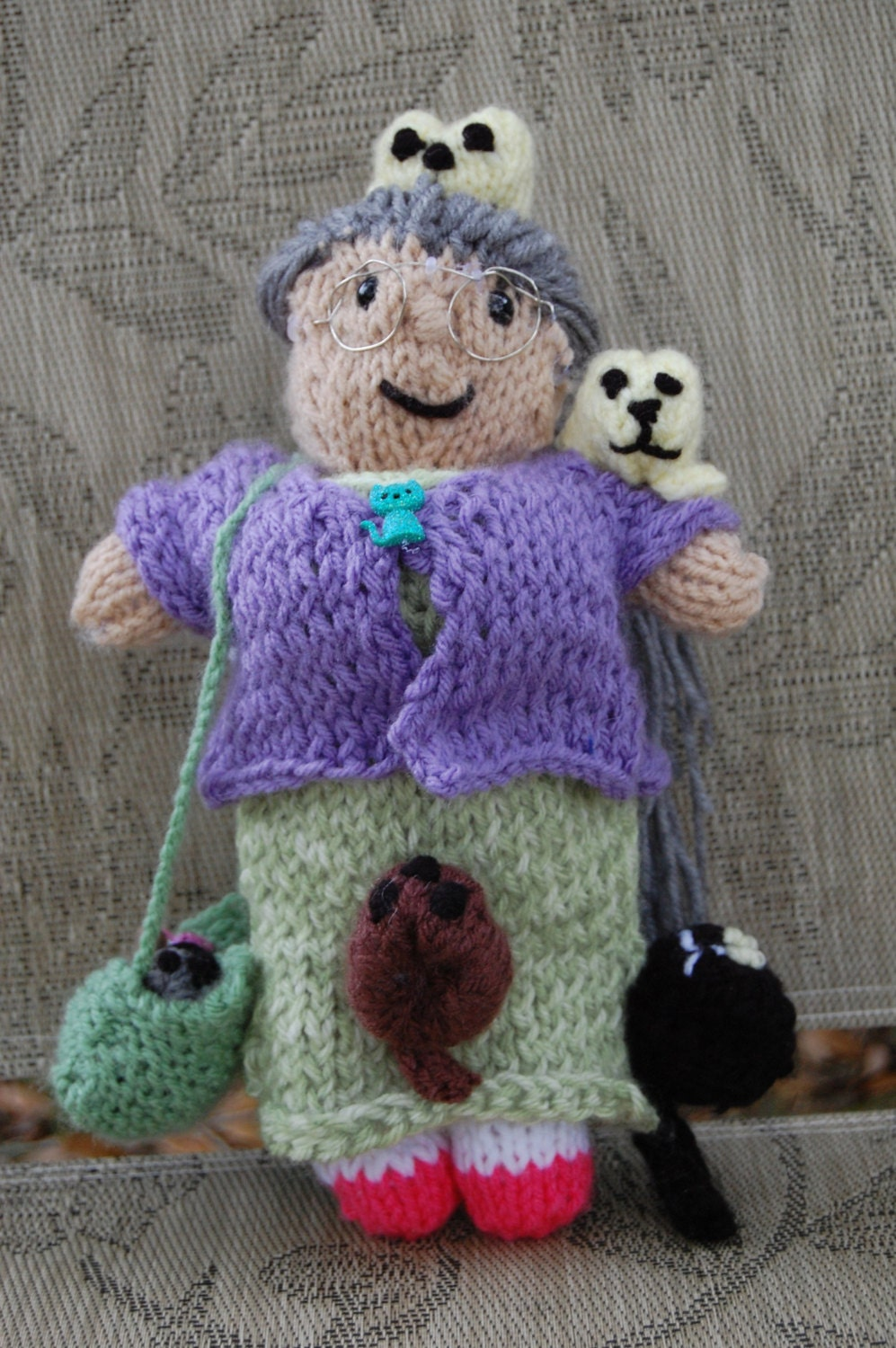 Cat Lady Knitting : Crazy cat lady doll customized hand knitted by