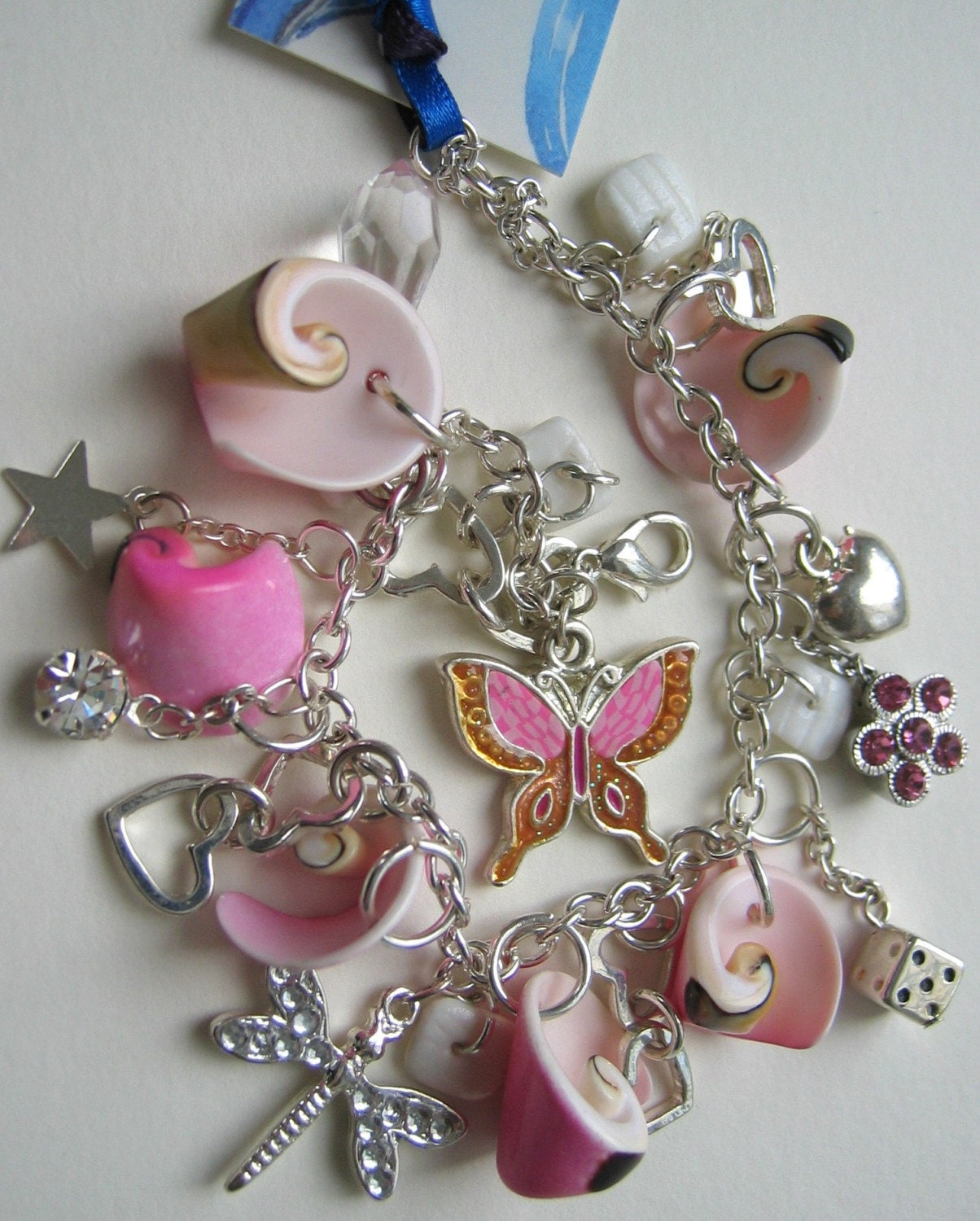 Pretty in Pink - Pink and silver charm bracelet