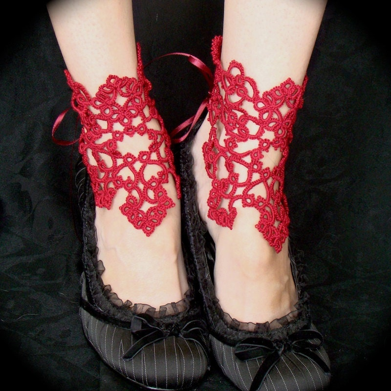 Victorious Ankle Corsets - Tatted Lace Accessories