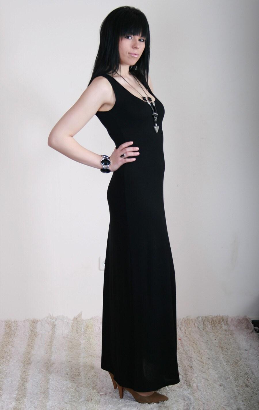SARA Simple black long dress feminine comfortable elegant