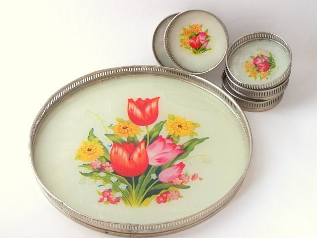 Vintage Coaster and Tray Set with Tulips Japan