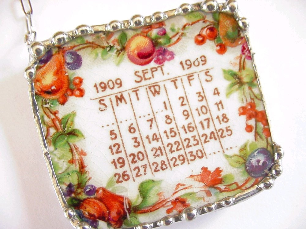 Broken China Jewelry necklace September 1909 antique calendar plate autumn fruits
