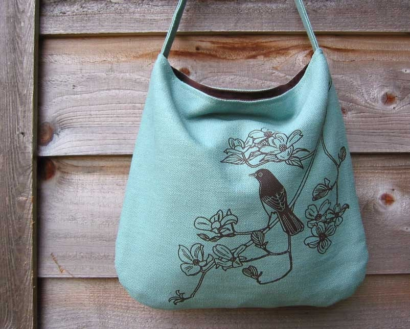 Eco-friendly Hemp Bag with Songbird on Dogwood (Turquoise)